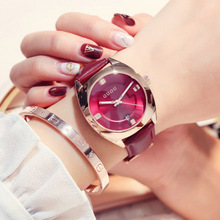 GUOU Watch Women Brand Luxury Kobiet zegarka quartz dial Leather strap Watches simple fashion ladies Dress wristwatches Hodinky