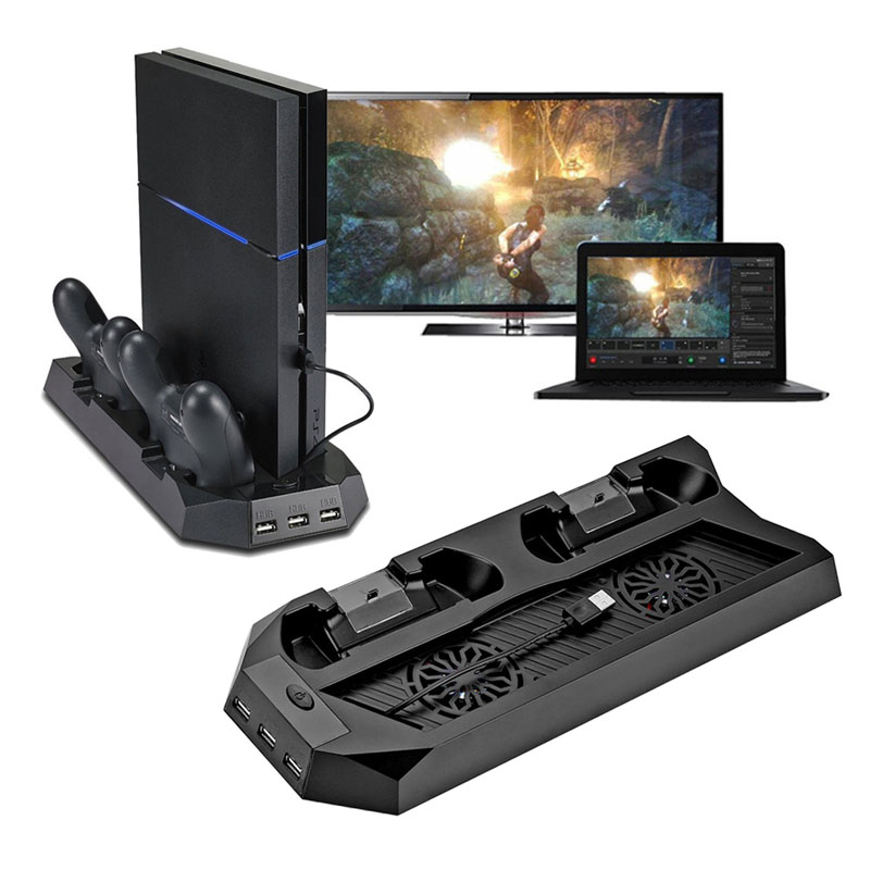 For PS4 Multifunctional Charging Station Cooling <font><b>Fan</b></font> Cooler Vertical Stand for Sony Playstation 4 with Dual Controllers Charger image