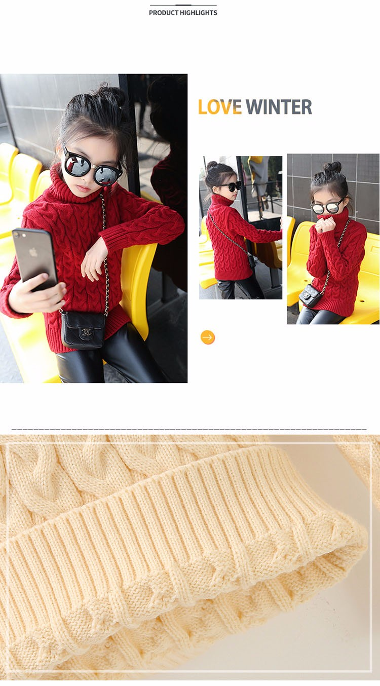 2017 new high neck long knitting girls sweater spring autumn winter turtleneck knitted children sweaters kids girls thick red black beige pink tops 7 8 9 10 11 12 13 14 15 years little big teenage girls sweater winter casual children (15)
