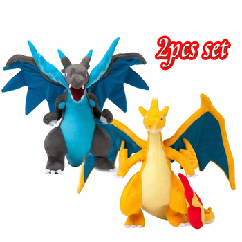 2pcs Anime Mega Evolution Charizard X & Y Plush Toys Action Figure Kids Kawaii Stuffed Animals Cute Doll Dragon Plushie for Boys