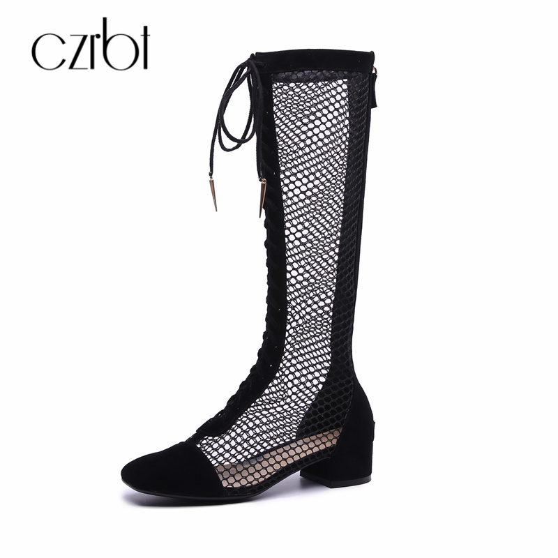 CZRBT 2018 INS Summer Luxury Brand Shoes Women High Boots Over The Knee Boots Cross Tied Genuine Leather Female Big Size Shoes