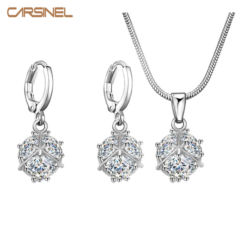 CARSINEL Fashion CZ Jewelry Sets for Wedding Women Silver color Cubic Zircon Round Ball Pendants Necklace Earring
