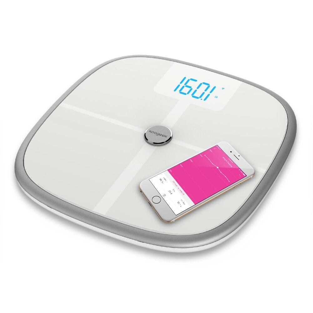 Koogeek FDA одобренные смарт-весы для здоровья Bluetooth Wi-Fi синхронизация измеряет мышечную кость массы BMR Висцеральный вес тела жировые мониторы