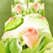 Green Apple and Pink Rose 3D Bedding Set Queen Size 100% Cotton Textiles Duvet Cover Bedspread Pillowcase Bed in a Bag
