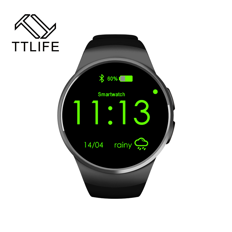 ФОТО TTLIFE KW18 Smart Watch Android/IOS smart watch Bluetooth Reloj Inteligente SIM Round Heart Rate Monitor Watch Clock