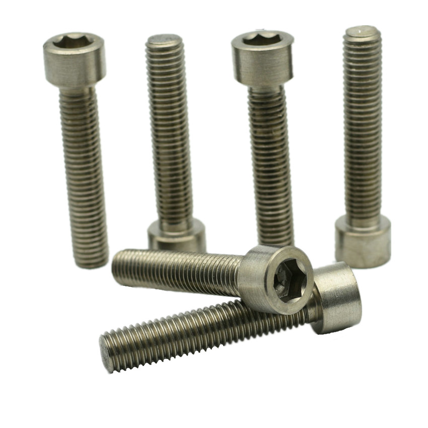6 pcs <font><b>M8</b></font> Titanium <font><b>bolts</b></font> <font><b>M8</b></font> x10 -120 all lengths original Ti color not polished Hexagon Socket titanium screws Ti fastener DIN912 image