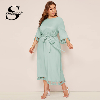 Sheinside Plus Size Elegant Fringe Detail Midi Dress Women 2019 Spring 3/4 Sleeve Belted Dresses Ladies Solid Straight Dress
