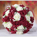 Burgundy & White Artificial Rose Flowers Handmade Decorative Bride Bridal Crystal Lace Accents Wedding Bouquets