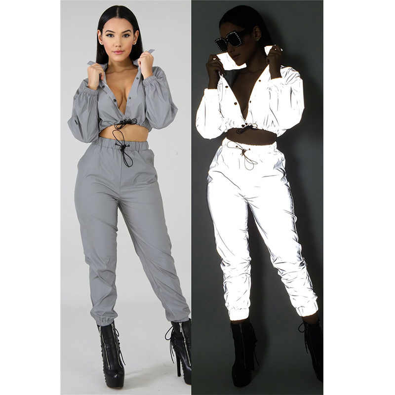 9818dc15cf 2019 Women Tracksuit Reflective Set Button Up Crop Top and Pants 2 ...