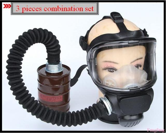 3 a juego de la combinación respirador gas mask paint pesticidas aerosol de la máscara de silicona PC lente de la cara llena respiradores envío gratis