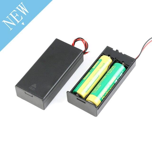 2*18650 電池ボックスケースホルダーシリーズバッテリー収納ボックススイッチ & カバーdcプラグのための 2 × 18650 diy電池ホルダー