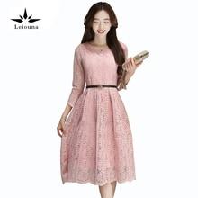 Leiouna New Summer Lace Sexy Elegant Slim Party Hollow High Waist Pink Dress Loose Women Clothing Vestidos Long Sleeve
