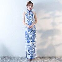 Vintage Chinese Style Cheongsam Wedding Dress Womens Sleeveless Long Gown Qipao Party Evening Dress Retro Clothes Vestido S XXXL