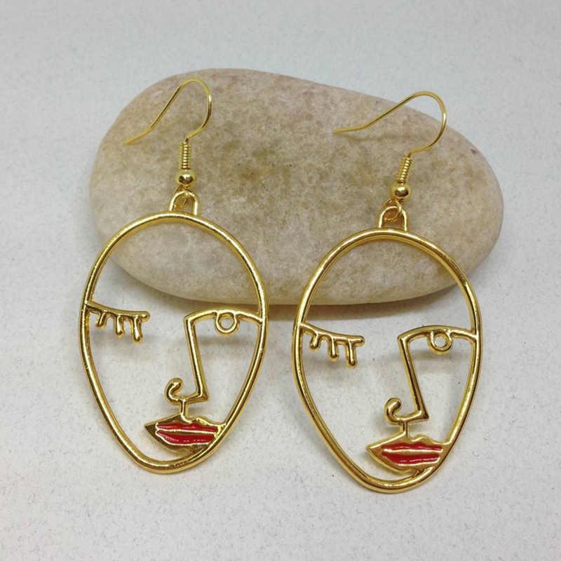Оптовая продажа красные губы Минимальный Hollo серьги в виде лица золотой Пикассо