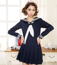Japanese School Navy Sailor Uniform T-shirt + Skirts Fashion School Class Navy Sailor School Uniforms For Cosplay Girls Suit