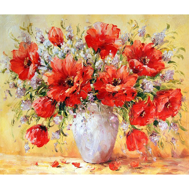 Góra Martwa natura Kwiaty i Wazon obrazu 3D DIY diament malarstwo cross JY92
