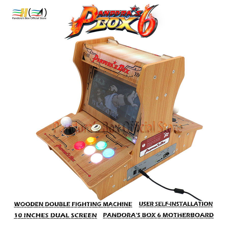 Pandora's Box Diy Bartop Arcade Wooden Double Fighting Machine Bartop Mini Arcade Machine Pandora Box 6 Motherboard 1300 In 1