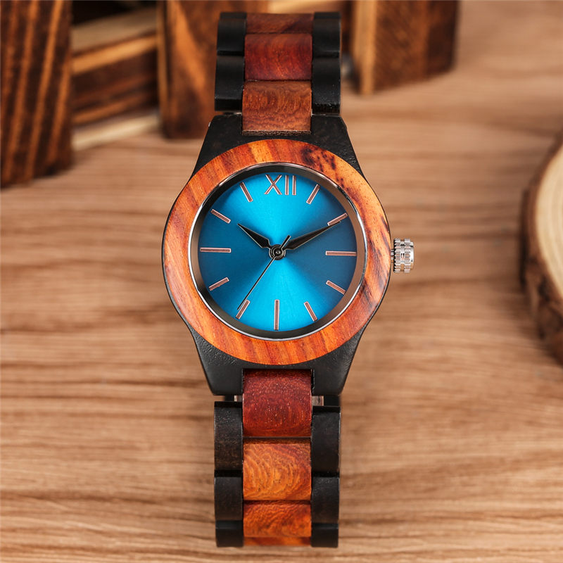 Women Wood Watch Ebony Blue Dial Quartz Wooden Watches Casual Simple Full Wood Band Female Clock orologio donna Women's Watches     - title=