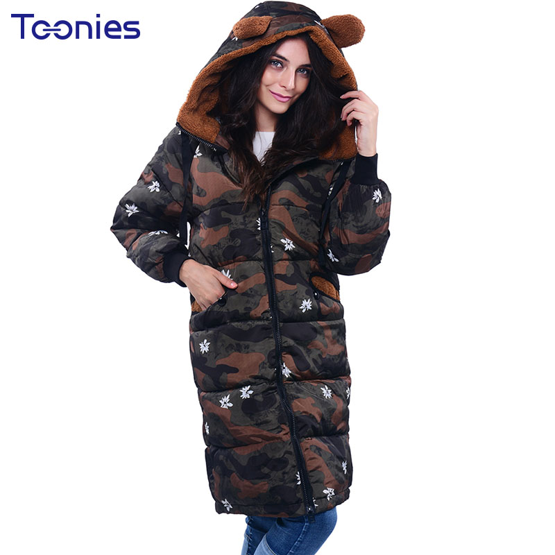 Wadded Winter Long Parkas Women Cotton Padded Coat Lovely Bear Ears Hooded Jacket Camouflage Female Cotton Jacket Winter Parka lovely autumn winter lover cotton padded women