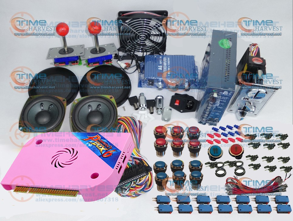 Kit de paquets de pièces d'arcade 1300 en 1 boîte de pandore 6 micro-commutateurs à Joystick boutons lumineux chromés pour Machine de jeux d'arcade