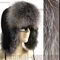 Venta caliente de las mujeres del sombrero del invierno 100% auténticos reales de plata de piel de zorro tapa de protección del oído cálido bombardero sombrero para las mujeres