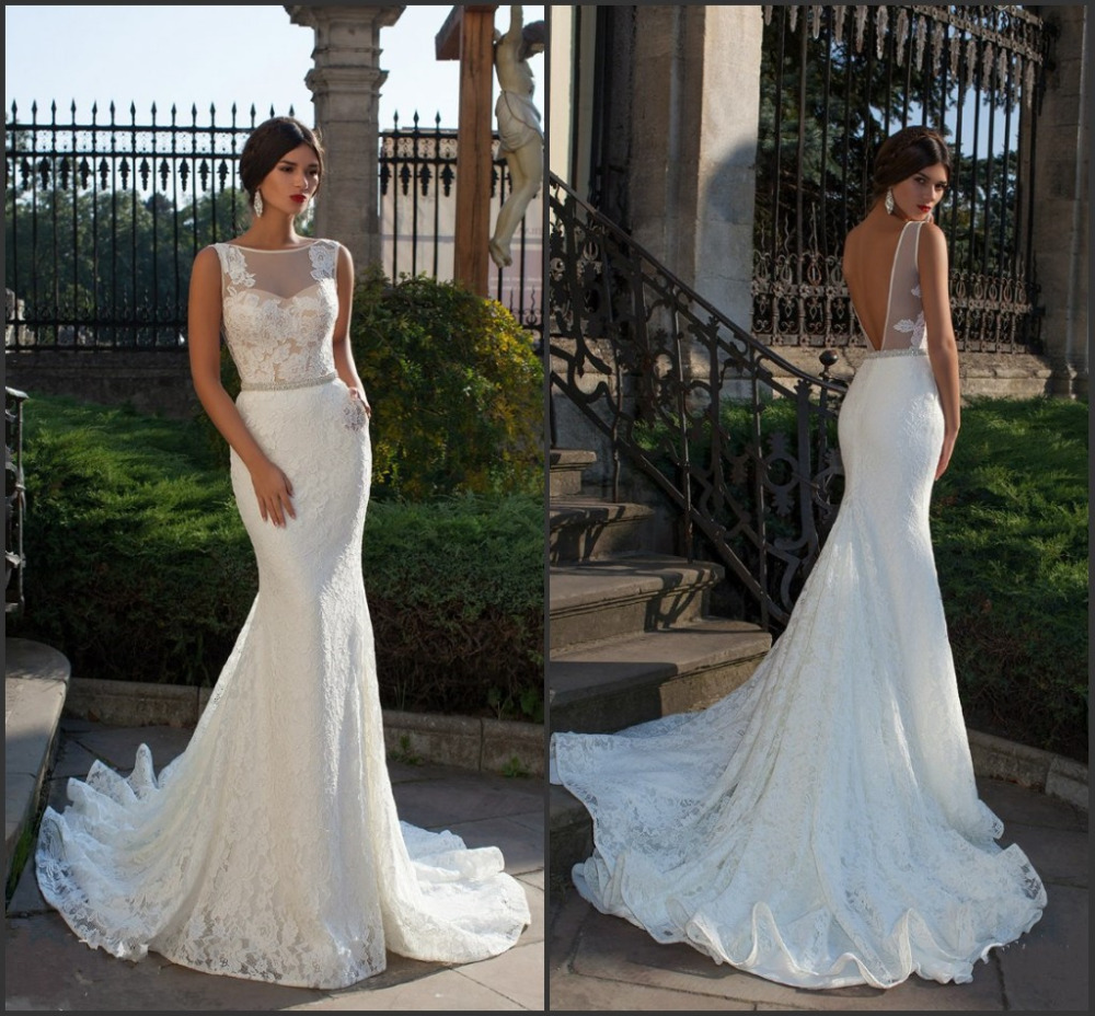 Mermaid Lace Wedding Gown: Bride Fish Tail Wedding Dress Elegant Lace Mermaid Wedding