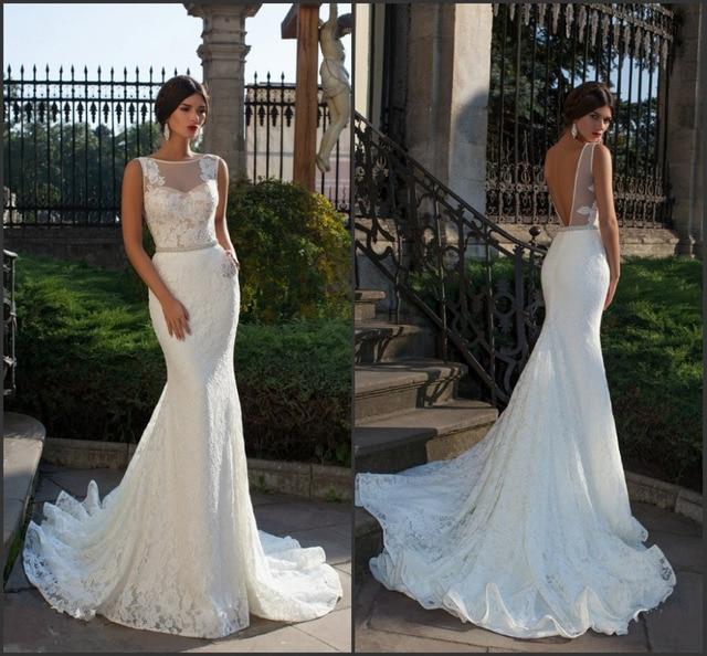 2015 New Elegant Full Long Sleeves Mermaid Wedding Dresses: Bride Fish Tail Wedding Dress Elegant Lace Mermaid Wedding