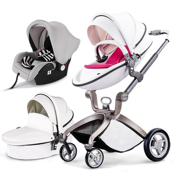 2018 Time-limited 2 In 1 Baby Carriage HOTMOM Stroller Suspension Folding Light Trolley Leather material