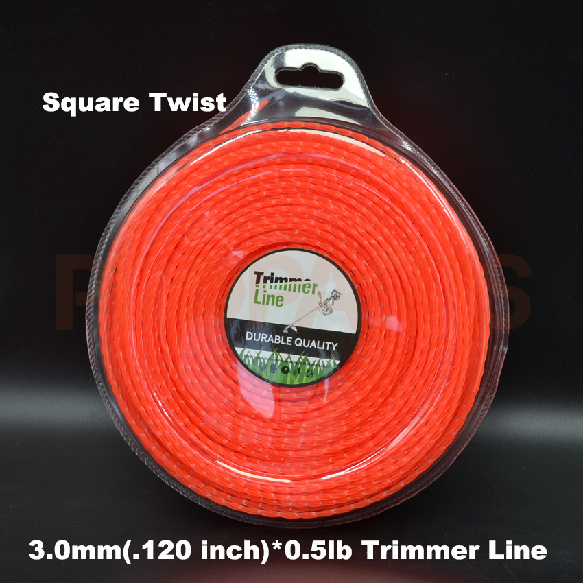 3.0mm 0.120X 0.5LB Twist Square Shape Orange Color Brush Cutter Grass Trimmer Nylon Line Wire grass trimmer line 3 0mm diameter 500g round for brush cutter power nylon line grass cutting