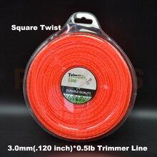 3.0mm 0.120″X 0.5LB Twist Square Shape Orange Color Brush Cutter Grass Trimmer Nylon Line Wire