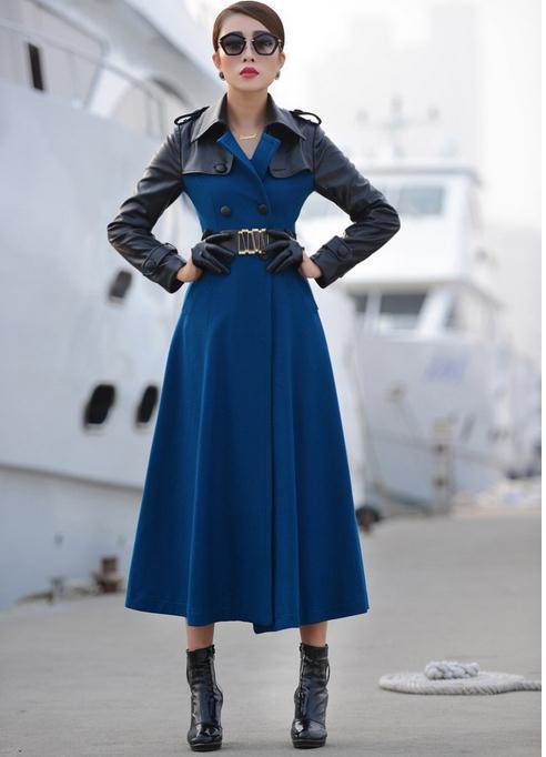 Double Cuir Blue Manteau Boutonnage En À Pu Longue Laine Et D'hiver De Mince Automne q6txfwPBOn