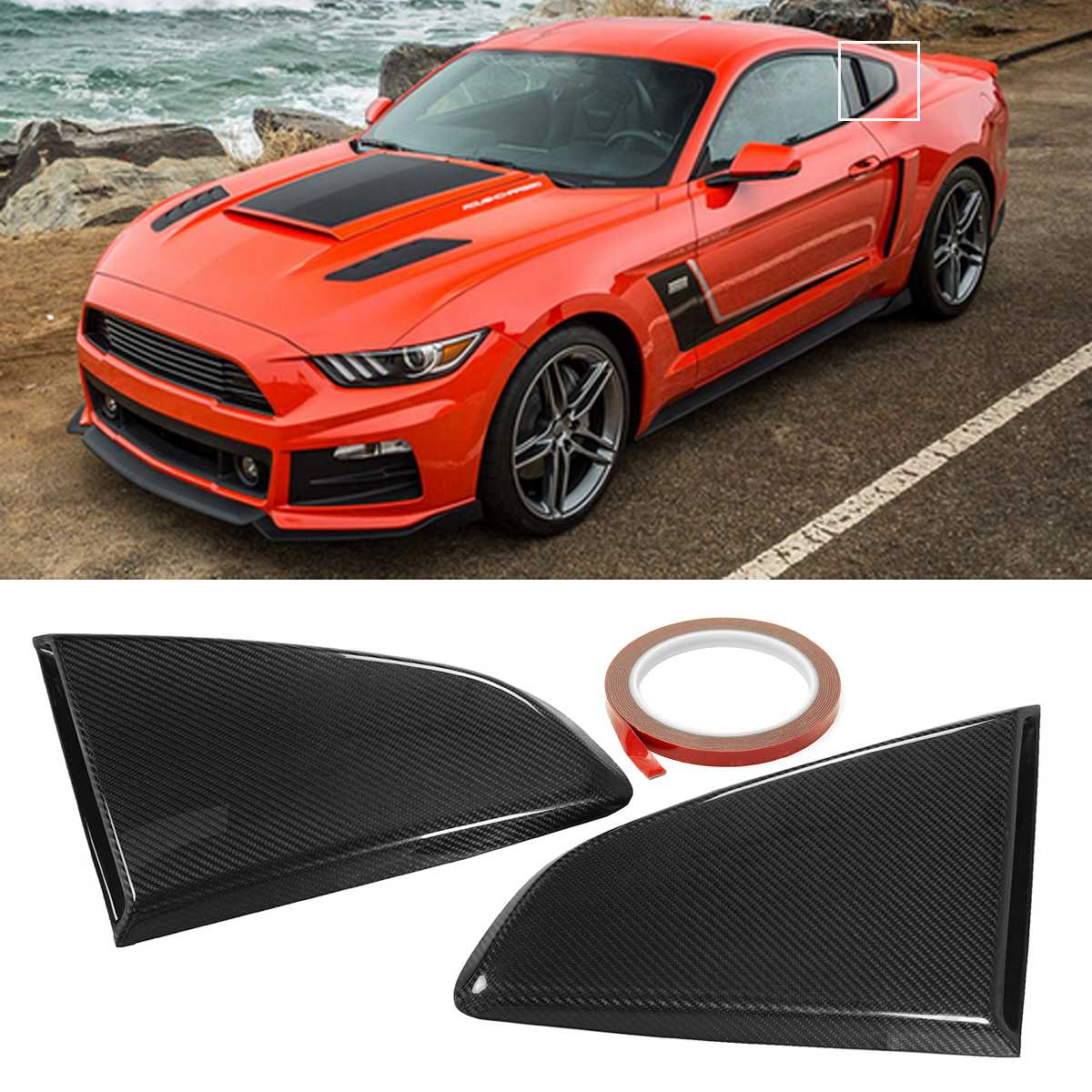 2 pièces vraie Fiber de carbone voiture côté fenêtre persienne écopes côté évent déflecteur Scoop persiennes pour Ford pour Mustang R Style