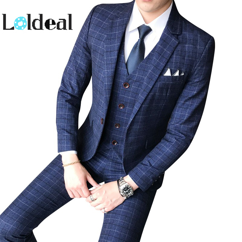 Plaids-Suit Pants Vest Jacket Wedding-Dress Three-Piece Business Formal Men's Fashion