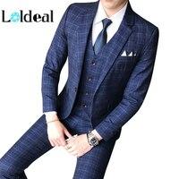 Loldeal Male Formal Business Plaids Suit for Men's Fashion Boutique Plaid Wedding Dress Suit ( Jacket + Vest + Pants )
