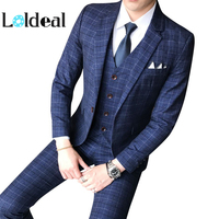 Three piece Male Formal Business Plaids Suit for Men's Fashion Boutique Plaid Wedding Dress Suit ( Jacket + Vest + Pants ) 2019