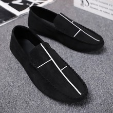 LAISUMK Men Casual Suede Loafers Black Solid Leather Driving Moccasins Gommino Slip on Men Formal Loafers Shoes Male Loafers