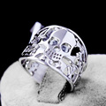 Genuine 925 Sterling Silver Anillos Joyas de plata Skull Rings Fine Jewelry for Men and Women