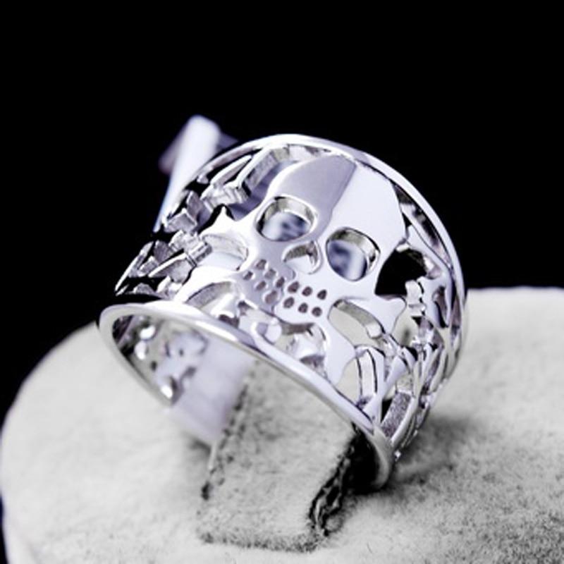 Genuine 925 Sterling Silver Anillos Joyas de plata Skull s