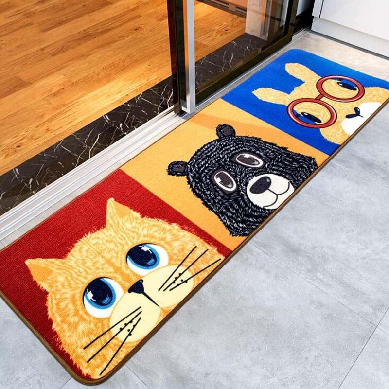 Soft Cartoon Kitty Rabbit Bear Pattern Floor Mat Big Rugs Anti Slip Kitchen Bathroom Hallway Carpet