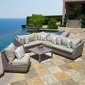 2017 nuevo producto de Cannes 6 unids seccional sofá muebles de mimbre Al Aire Libre