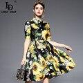 Alta calidad de la vendimia del verano botón de manga corta crystal sunflower dress runway designer mujeres floral print dress
