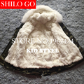 2016 New Winter Aramy Green&Black Jacket Coats Thick Parkas Plus Size Real fox rabbit Collar Hooded Outwear coat &size 110-160