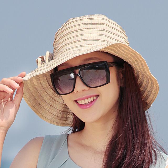 2016 Nueva Señora Sombrero Para el Sol Sombrero de Verano Las Mujeres Plegado de Ala Ancha Dom Casquillo Elegante Viajar Sombrero Nuevo Headwear B-1967