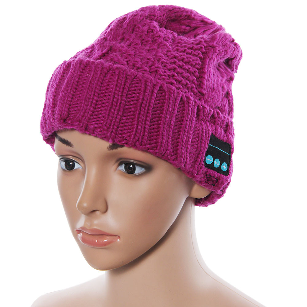 Wool Knitted Cap Fashion Women Soft Warm Skullies Beanie Hat Lady Wireless Bluetooth Smart Cap Headset Headphone Speaker Dec8 women cap skullies