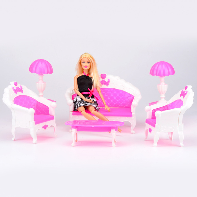 6PCS Dollhouse Furniture Living Room Sofa Desk Plastic Set Accessories For  Barbie Doll Best Gifts Toys