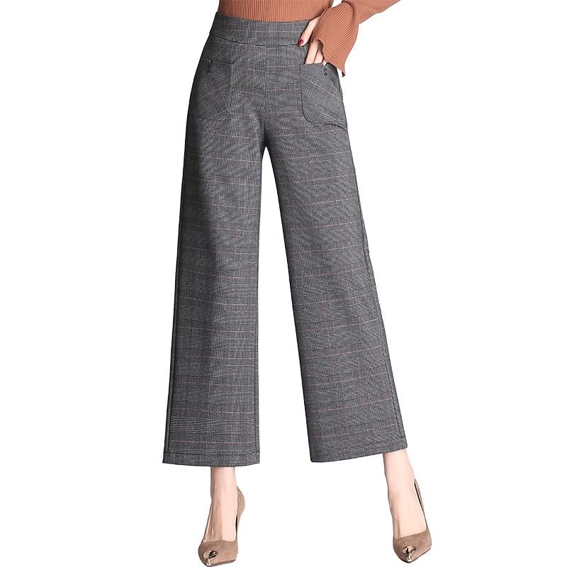 A Vita Ufficio Di Poliestere Donna Delle Pantaloni Modo Alta Marca Mobtrs  Gray Donne q8w0f0 b59028a72b9