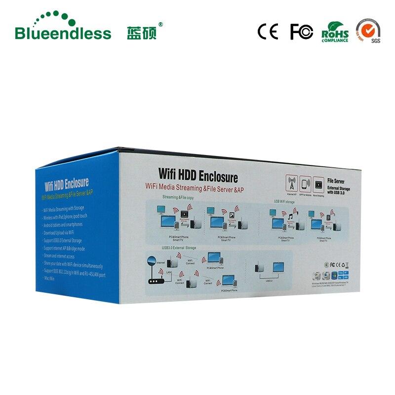 RJ45 disco duro externo caso Nas antena wifi inalámbrico wifi sata usb 3,0 hdd wifi interfaz de aluminio hdd caja hdd 3,5 HDD caddy - 6