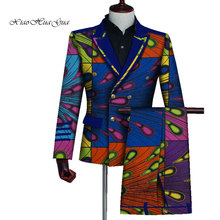 Mens African Clothing Bazin Riche African Wax Print Top Suits and Pants Sets Ankara Clothes 2 Pieces Blazer and Pants Set WYN725 colorful scales pattern blazer and pants twinset