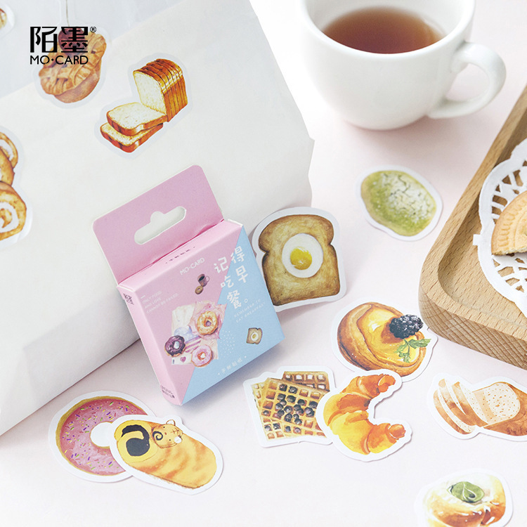 46PCS/box New Cute Breakfast Diary Paper Lable Sealing Stickers Crafts And Scrapbooking Decorative Lifelog DIY Stationery