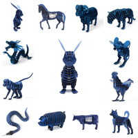 3d 1 stks 12 stijlen keuze blauw action figure diy papier Jigsae Puzzel Mooi Ornament Voor Home Office Kids Novelty Intelligente speelgoed